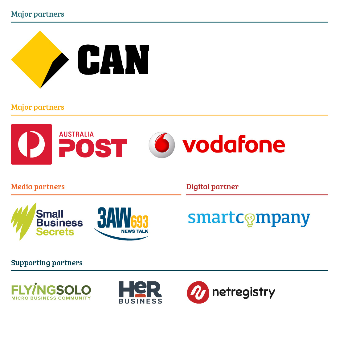 Small Business Festival Partners - Commbank AusPost Vodafone...